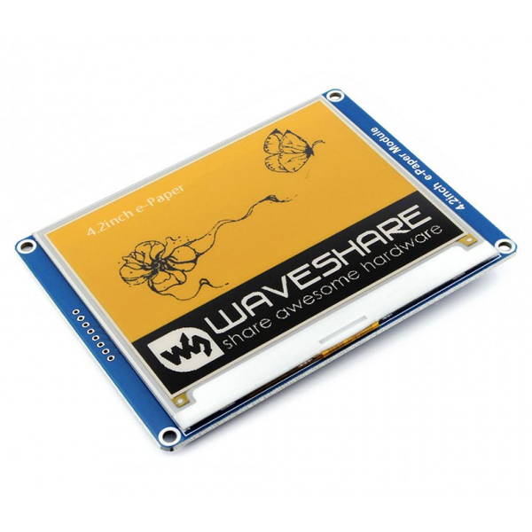 "Дисплей E-Ink 4,2"", три цвята, 400x300, SPI /e-Paper 3-color module, yellow, black, white/"