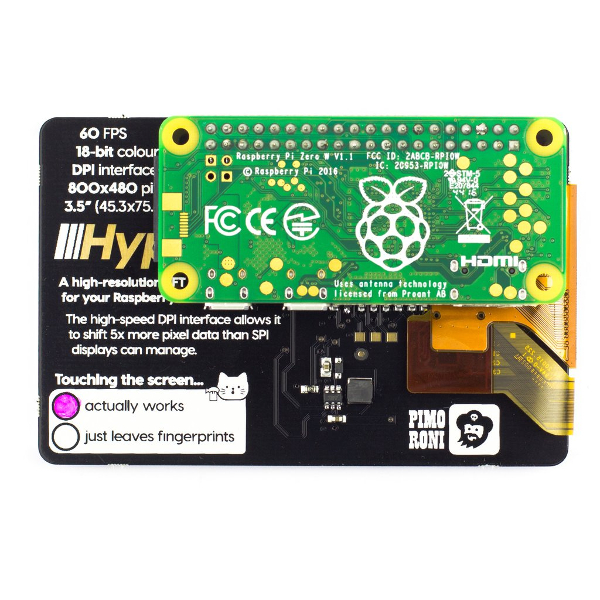 "3,5"" дисплей за Raspberry Pi - high-resolution, high-speed, capacitive touch, Pimoroni"