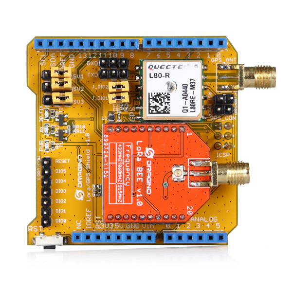 Dragino LoRa / GPS Shield за Ардуино, 868 MHz
