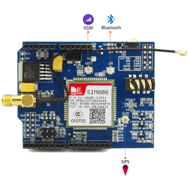 SIM808 Shield - GSM, GPRS, GPS, Bluetooth