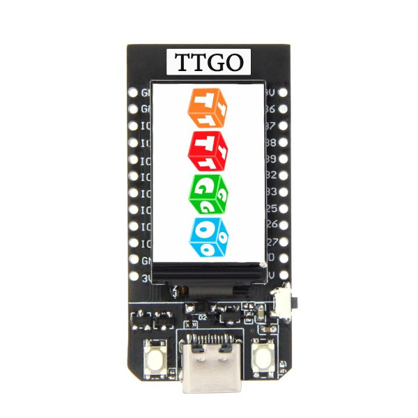 "TTGO T-Display ESP32 - 1,14"" цветен дисплей, ESP32 CPU, WiFi, Bluetooth, зарядно за Li-Po"